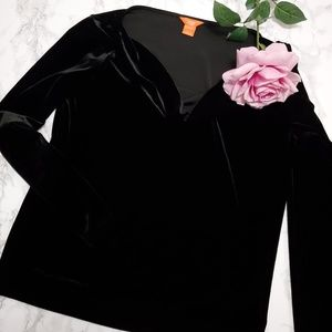 JOE FRESH Black Cowl Neck Velvet Blouse